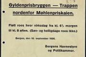 """""""Regler for fløtt! Gyldenprisbryggen - Trappen nordenfor Møhlenpriskaien."""" 1926."""