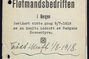 Takstregulativ for fløttmennene ved Sukkerhusbryggen, 1918. Bergen havnefogd (A-0742 Zc 5).