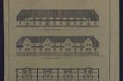 Fasader og grunnplan av øverste rekkehus på Øvre Gyldenpris. Arkivet etter Byggprosjektavdelingen.