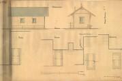 Fra 1870-årene bygde kommunen fløttmannshus på en del av bryggene. Her ses Havnestyrets tegning av fløttmansshus fra 1878.
