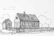 Den første skolebygningen på Haukeland. Den ble ganske snart for liten. Skolen ble utvidet med flere bygninger og dette første huset ble utvidet i både høyde og bredde. Tegning hentet fra jubileumsboken Haukeland skole i 100 år 1846-1946.