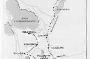 Reiseruten til skoleholderen startet på Kobbeltvedt i Våkendalen og ende opp i Møllendal. Gårdbrukerne hadde plikt til å frakte han til neste gård på ruten. Illustrasjon hentet fra jubileumsboken Haukeland skole. Ved Ulrikens fot i 150 år 1846 - 2. november - 1996. Historien om skolen og distriktet.