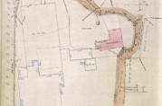 Målebrev som viser von Erpecoms eiendom der kjeksfabrikken ble reist. Bergen oppmålingsvesen (A-0983, Kka: 22).