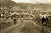 Gyldenpris sett fra Puddefjordsbroen i 1963. Fotograf ukjent. Arkivet etter Bergens Arbeiderblad.