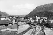 Postkort av Kronstad jernbanestasjon. Foto: Enoch Djupdræt. Billedsamlingen, Universitetsbiblioteket i Bergen.