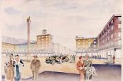 """Utkastet """"Piazza"""", utført av arkitekt J. Munthe Bull. Arkivet etter Rådmannen for 4.avdeling."""