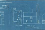Solheimviken Brandstation, Løbergeveien 31. Arkitekt I. Lunde, datert 16.02.1916. Tegningen er brukt i en byggeanmeldelse i 1931, hvor toppen av tårnet søkes fjernet for å bygge tak over. Arkivet etter Byggesaksavdelingen, Byrådsavdeling for byggesak og private planer, Bergen kommune.