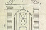 Utsnitt av dørskjema, signert D.J. Muri februar 1921. Arkivet etter arkitekt Daniel Muri.