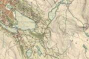 Utsnitt av kart fra 1907. Årstad sogn strakk seg fra Årstad i nord til Wergeland i sør, fra Våkendalen og Isdalen i øst til Gyldenpris i vest. Barna fra hele dette området måtte gå til skolen på Haukeland på midten av 1800-tallet. Fra 1858 ble det opprettet flere skoler, så da fikk barna kortere vei. Arkivet etter Oppmålingsvesenet, Bergen Byarkiv.