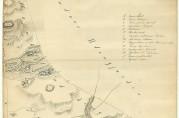 Kart over Haukeland gård med omgivelser. Av Werner H. Christie, 1776. Kopi. Arkivet etter Oppmålingsvesenet. Eldre kartsamling.