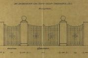 Hagegjerde med inngangsportal. Tegning datert juni 1921. Arkivet etter arkitekt Daniel Muri. Bergen Byarkiv.