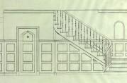 Innvendig trapp og panel i entreen. Tegning datert september 1920. Arkivet etter arkitekt Daniel Muri. Bergen Byarkiv.
