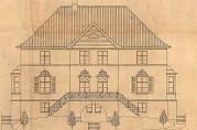 Skipsreder Torps villa. Fasade mot syd. Tegning datert februar 1920. Arkivet etter arkitekt Daniel Muri. Bergen Byarkiv