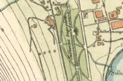 Utsnitt av kart fra 1907, oppdatert pr. 1915, som viser de fire første husene i Lærerbakken. Arkivet etter Oppmålingsvesenet i Bergen.