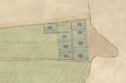 Utsnitt av håndtegnet kartplate datert 1915 som viser husene i Lærerbakken. Arkivet etter Oppmålingsvesenet i Årstad.
