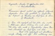 Møtereferat fra lagsmøtet i Årstad Arbeiderungdomslag 18. september 1945.