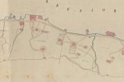 Lyststedene lå på rekke og rad på Damsgårdsiden. Utsnitt av havnekart over Puddefjorden, 1883. Arkivet etter Havnestyret.
