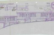 Fasadetegning-, grunnplan og snitt av boligbrakke og uthusbygning