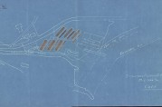 Situasjonskart over Grønneviksøren fra 1916 med syv brakker og tilhørende uthus inntegnet. Arkivet etter Rådmannen for 4.avdeling. Bergen Byarkiv.