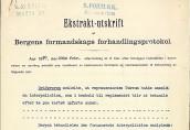 Ekstraktutskrift av Bergens formannskaps forhandlingsprotokoll fra 23.februar 1920