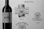 Flaske og etikett fra vingården Cháteau Margaux, med bilde av gården. En vin Friele sannsynligvis importerte, som ga han ideen til lyshusets hovedfasade. Illustrasjon hentet fra nettstedet wikipedia.