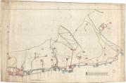 Kart over Damsgårdssiden fra 1896 hvor Fjæreveien er inntegnet