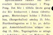 Ping Pong (bordtennis). Fra medlemsbladet Nymarksgutten, nr. 2 1931