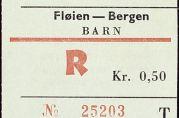 Billett Fløybanen-Bergen. Legg merke til prisen.