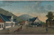 Prospekt av Johan Christian Dahl fra 1806 som viser Det gamle rådhuset og Hagerupsgården. I bakgrunnen kan en skimte det hvite kirkespiret til Hospitalkirken. Motivet kan i dag bli beskuet på KODE. KODE.