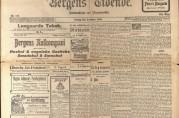 Del av forsiden på Bergens Tidende lørdag 9.desember 1905 med en artikkel om byutvidelsessaken. Avisen skriver her at magistrat og formannskap lenge har drevet «utsettelsespolitik» i forhold til kravet fra landdistriktene om byutvidelse. Arkivet etter Finansrådmannen (BBA-0155).