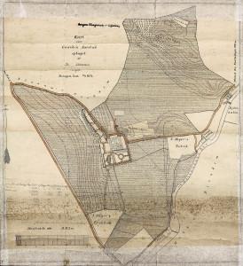 Kart over gården Årstad fra 1896, adresse Årstadgeilen 25. Arkivet etter Oppmålingsvesenet, eldre kartsamling, Bergen Byarkiv.