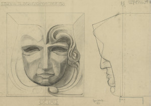 Den Nationale Scene, detaljtegning. Arkivet etter arkitekt Einar Oscar Schou, Bergen Byarkiv.