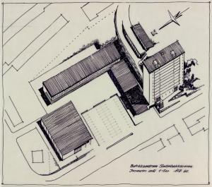 Tegning av Sletten Shopping Senter. Ved etableringen i 1964 var det det første kjøpesenter i Norge, med 19 butikker fordelt på 3.400 kvadratmeter. Utvidet til 24 butikker i 2006. Arkivet etter arkitektene Arne og Ole Halvorsen, Bergen Byarkiv.