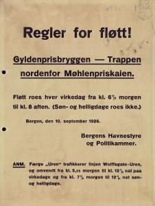 Regler for fløtt. Arkivet etter Havnekontor/Havnefogd, Bergen Byarkiv.