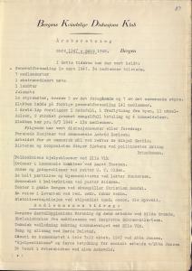 Fra Bergens Kvinnelige Diskusjonsklubbs årsberetning 1947-48. Arkivet etter Bergen Kvinnelige Diskusjonsklubb, Bergen Byarkiv.