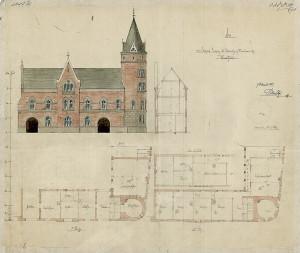 Arkitekt Peter Andreas Blixs tegning av gamle hovedbrannstasjon på Rådstuplassen 9 fra 1888. Kartsamling fro flere etater, Bergen Byarkiv.