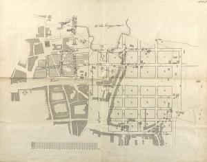 Reguleringsplanen fra 1855, utarbeidet av stadskonduktør Jacob C. Jersin omfatter sentrale kvartaler som brant i 1855. Arkivet etter Reguleringsvesenet, Bergen Byarkiv