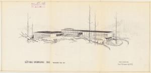 Arkitekt Arne Halvorsens tegning av Slåtthaug skole. Arkivet etter arkitektene Arne og Ole Halvorsen, Bergen Byarkiv.