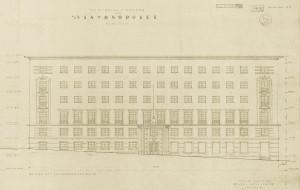 Vinmonopolets anlegg i Valkendorfsgate 6. Tegnet av arkitektene Fredrik Arnesen og Arthur Darre Kaarbø. Arkivet etter Bygningssjefen, Bergen Byarkiv.
