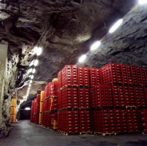Lagerhall i Fløifjellet ved Hansa Bryggeris tidligere anlegg i Kalfaret. Udatert foto. Fotograf: Ukjent. Arkivet etter Hansa Bryggerier, Lokalhistorisk Arkiv i Bergen.