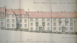 Leiegårdskompleks i Kirkegaten 5 fra 1922, tegnet av boligarkitekt Jon Knudsen for Bergen kommune. Arkivet etter Rådmannen for 4.avdeling. Bergen Byarkiv.