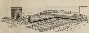 Perspektivskisse av det planlagte bydelssenteret gjengitt i Bergens Tidende 22.februar 1969. Arkivet etter Reguleringsvesenet, Bergen Byarkiv.