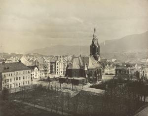 Sydneshaugen tidlig 1920-tallet. Fotograf: Ralph L. Wilson Arkivet etter Vann- og kloakkvesenet, Bergen Byarkiv.