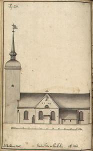 Statsbyggmester J. J. Reichborns tegning av Korskirken fra1768. Fra Hildebrandt Meyers manuskripter. Arkivet etter De eligerte menn, Bergen Byarkiv.