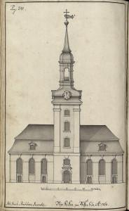 Statsbyggmester J. J. Reichborns tegning av Nykirken fra1768. Fra Hildebrandt Meyers manuskripter. Arkivet etter De eligerte menn, Bergen Byarkiv.