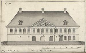 Statsbyggmester J. J. Reichborns tegning av Tollkammerbygningen fra1768. Fra Hildebrandt Meyers manuskripter. Arkivet etter De eligerte menn, Bergen Byarkiv.