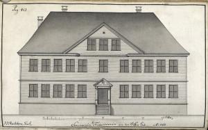 Statsbyggmester J. J. Reichborns tegning av Seminarium Fredericianum fra1768. Fra Hildebrandt Meyers manuskripter. Arkivet etter De eligerte menn, Bergen Byarkiv.