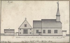 St. Jørgens hospital etter tegning av J.J. Reichborn fra 1768. Arkivet de eligerte menn, Bergen Byarkiv.