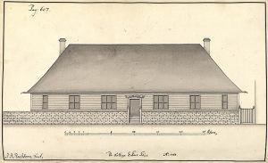 Enkefattighusets andre bygning ved St. Jakobs kirkegård var en 28 m lang ettetasjers bygning. Etter tegning av J.J. Reichborn. Arkivet de eligerte menn, Bergen Byarkiv.