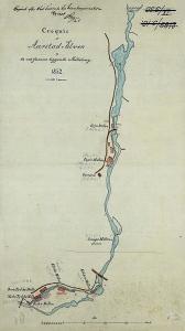 Kart over Møllendalselven (Aarstadelven) fra 1852 med inntegnede møllebruk. Arkivet etter Oppmålingsvesenet, eldre kartsamling, Bergen Byarkiv.